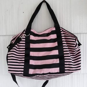 Victoria's secret pink and black striped duffle